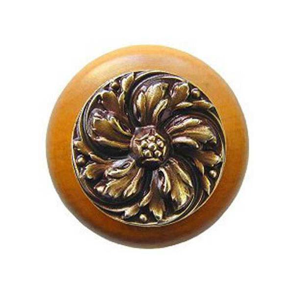 Maple Chrysanthemum Knob with Antique Brass, image 1