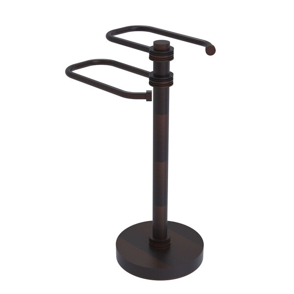 Venetian Bronze Eight-Inch Free Standing Two Arm Guest Towel Holder with Dotted Ring Detail, image 1
