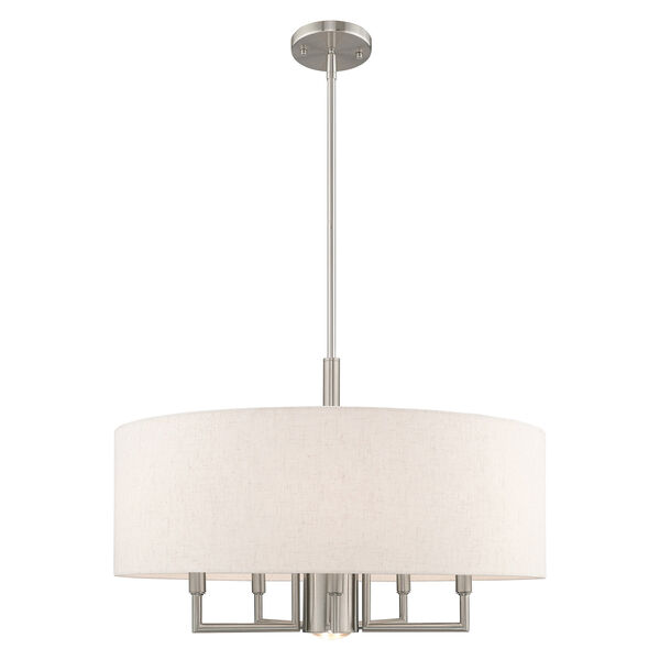 Meridian Brushed Nickel 24-Inch Six-Light Pendant Chandelier with Hand Crafted Oatmeal Hardback Shade, image 1
