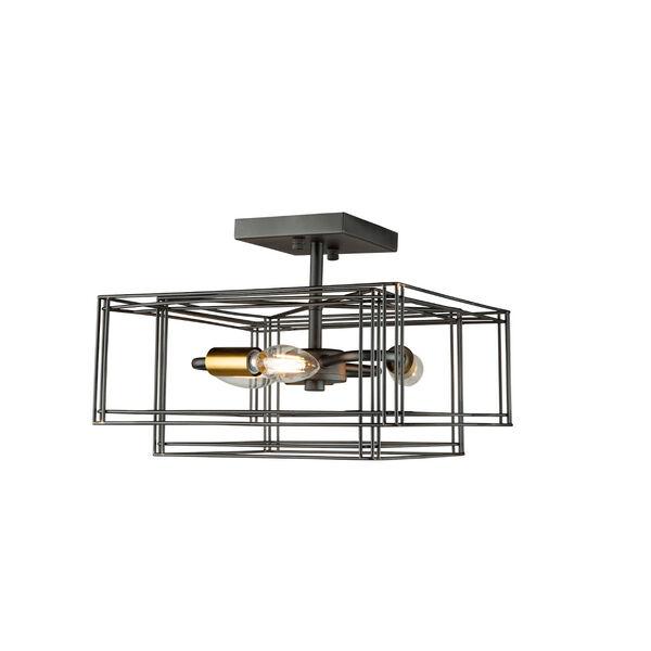 Artisan Black and Brushed Brass Three-Light Semi-Flush Mount, image 4