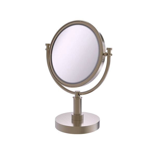 Antique Pewter Eight-Inch Vanity Top Make-Up Mirror 3X Magnification, image 1