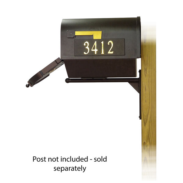 Curbside Black Nine-Inch Mailbox with Newspaper Tube and Ashley Front Single Mounting Bracket, image 4