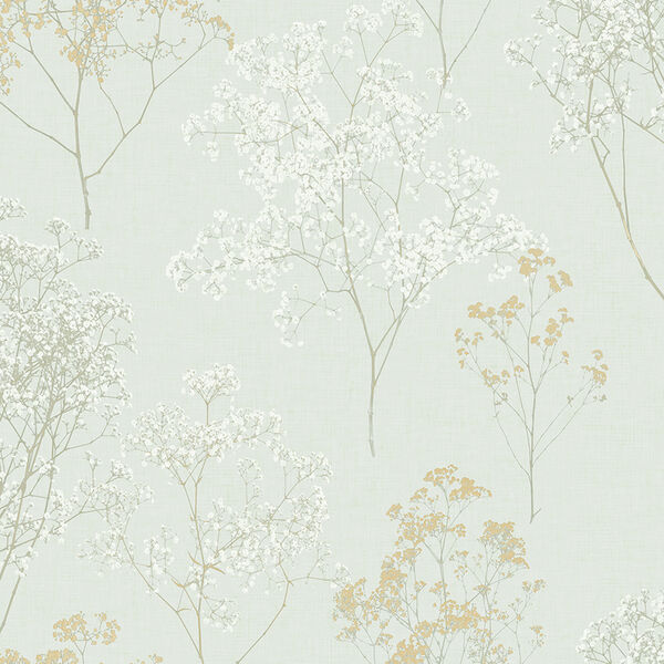 Queen Anne Lace Green, Ochre and Orange Wallpaper, image 1