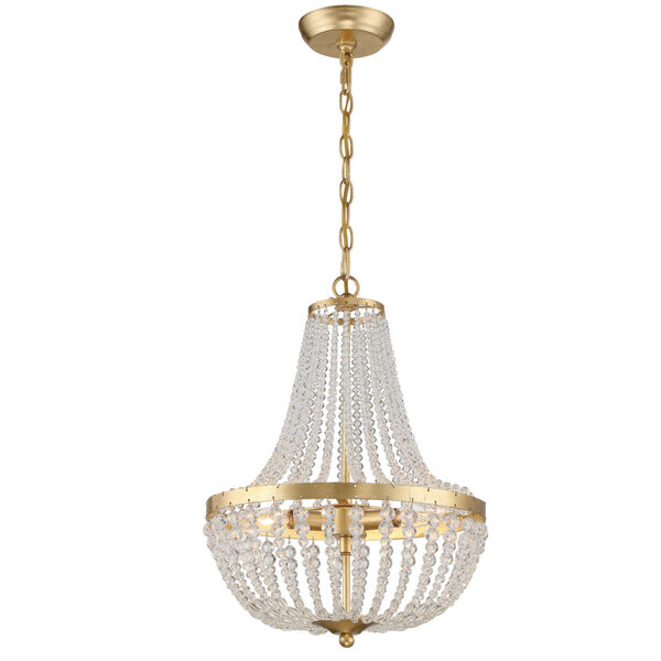 Rylee Antique Gold Three-Light Chandelier Convertible to Semi-Flush Mount, image 6