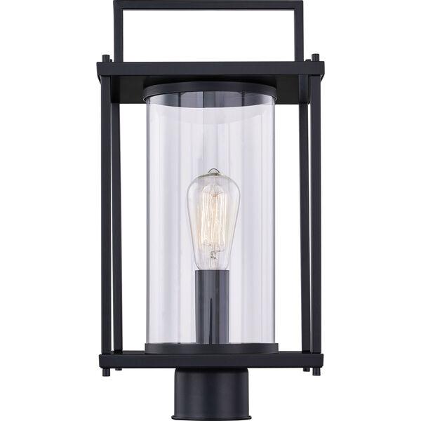 Garrett Matte Black One-Light Outdoor Post Lantern with Transparent Glass, image 2