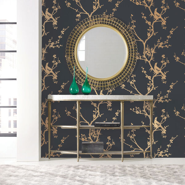 Bird Watching  Black and Gold Removable Wallpaper, image 1