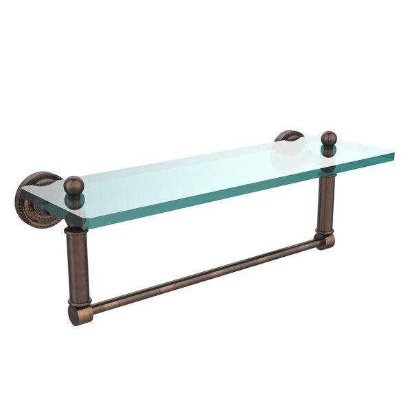 Dottingham Venetian Bronze 16x5 Glass Shelf w/ Towel Bar, image 1