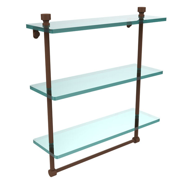 Foxtrot Collection 16-Inch Triple Tiered Glass Shelf with Integrated Towel Bar, image 1