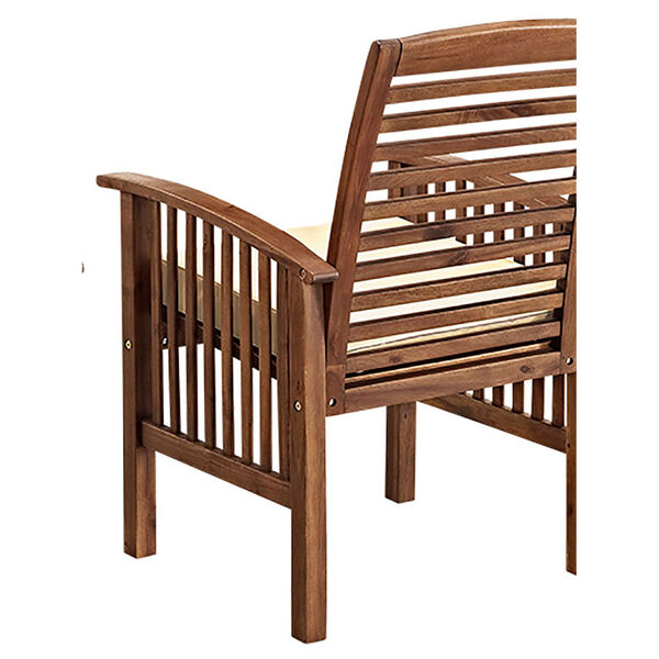 Dark Brown Acacia Patio Chairs with Cushions (Set of 2), image 5