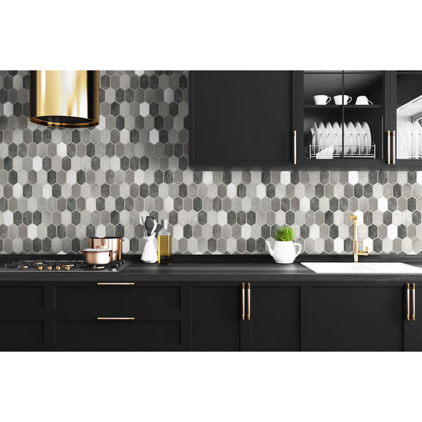 NextWall Gray Brushed Hex Tile Peel and Stick Wallpaper, image 3