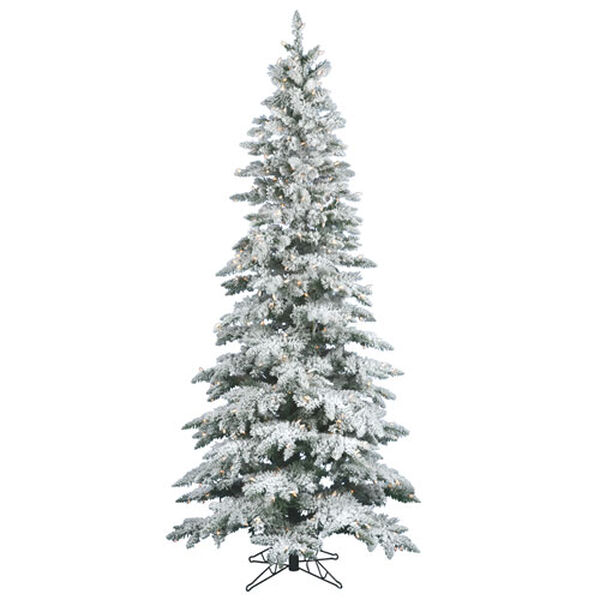 7.5 ft. x 3.5 ft. Flocked Utica Tree with 400 Clear Mini Lights, image 1