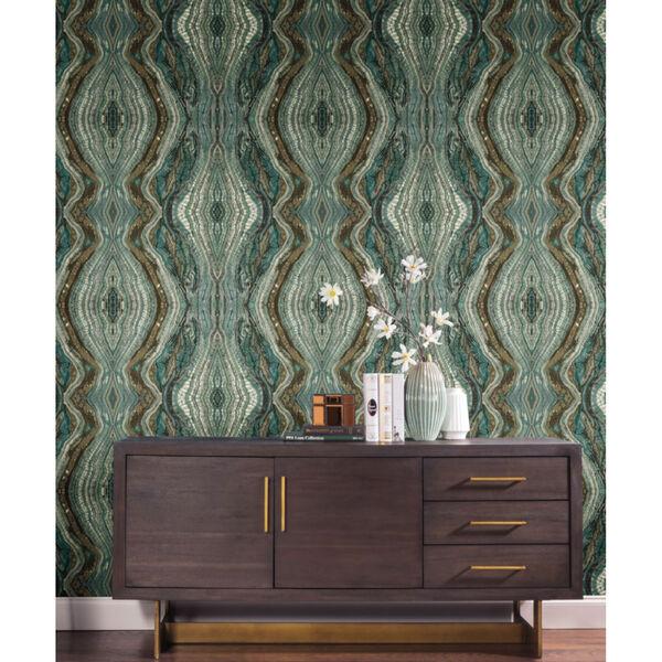 Antonina Vella Elegant Earth Teal Kaleidoscope Bohemian Wallpaper, image 1