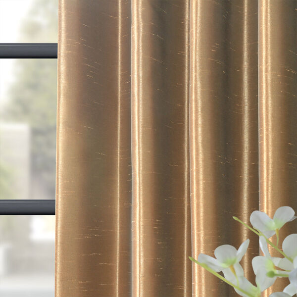Flax Gold 50 x 84-Inch Blackout Vintage Textured Faux Dupioni Silk Curtain, image 8