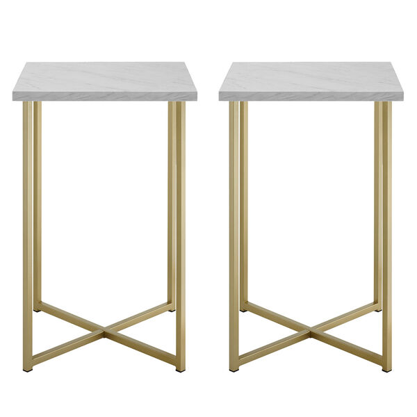 Faux White Marble and Gold Wood Square Side Table, Set of Two, image 3