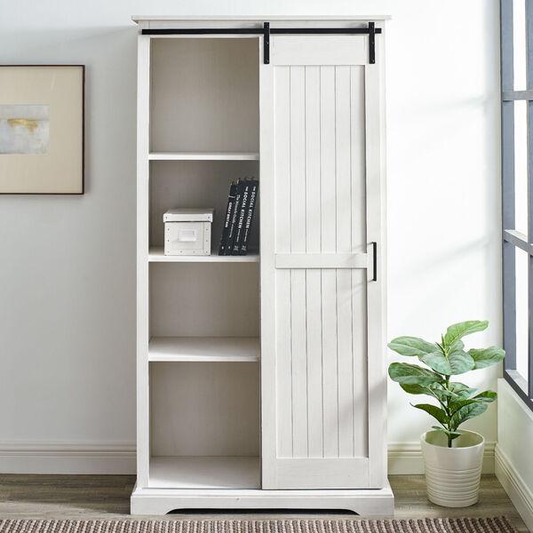 Barn Door Brushed White Storage Cabinet, image 3