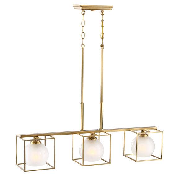 Cowen Brushed Gold Three-Light Chandelier, image 4
