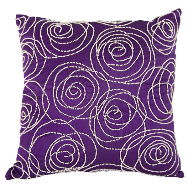 Purple 18-Inch Poly Silk Faux Pearl Embellished Pillow, image 1