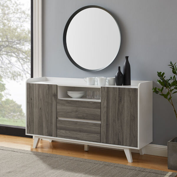 Friday Solid White and Slate Grey Two Door Sideboard, image 2