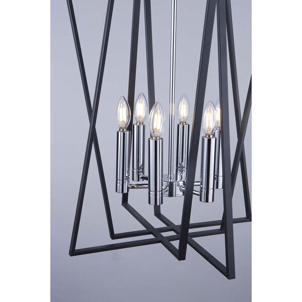 Middleton Matte Black and Polished Chrome Six-Light Geometric Chandelier, image 3