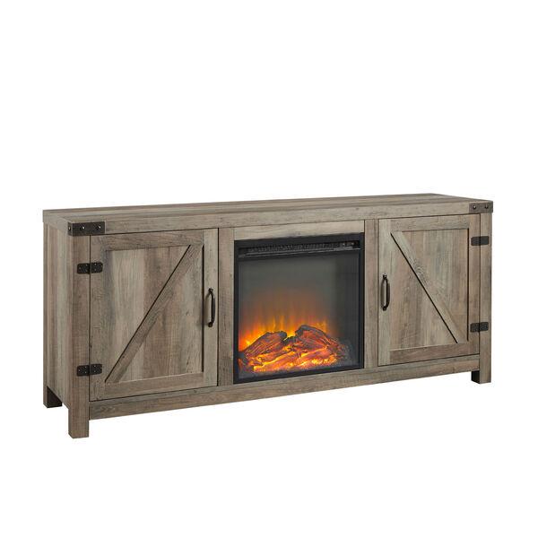58-Inch Barn Door Fireplace TV Stand - Grey Wash, image 1