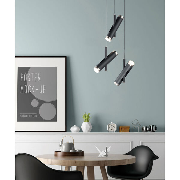 Ambit Black and Satin Nickel Six-Light LED Pendant, image 2