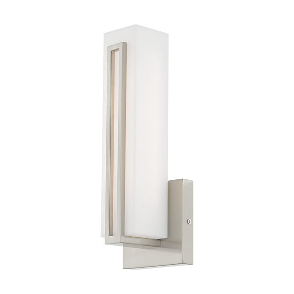 Fulton Brushed Nickel 4-Inch ADA Wall Sconce with Satin White Acrylic Shade, image 5