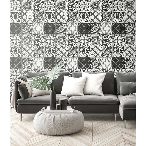NextWall Black and White Graphic Tile Peel and Stick Wallpaper, image 3