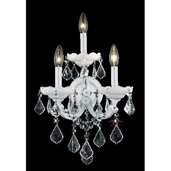 Maria Theresa White Three-Light Sconce with Clear Royal Cut Crystals, image 1