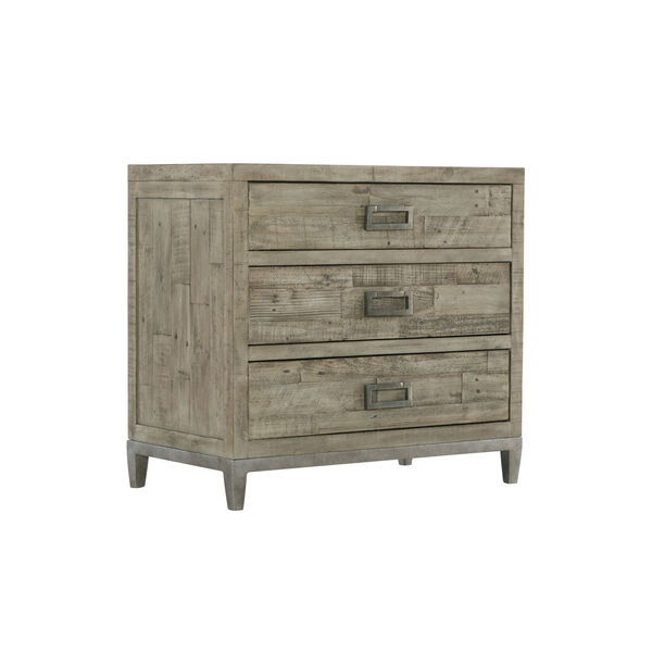 Glazed Silver and Brown 32-Inch Loft Shaw Nightstand, image 1