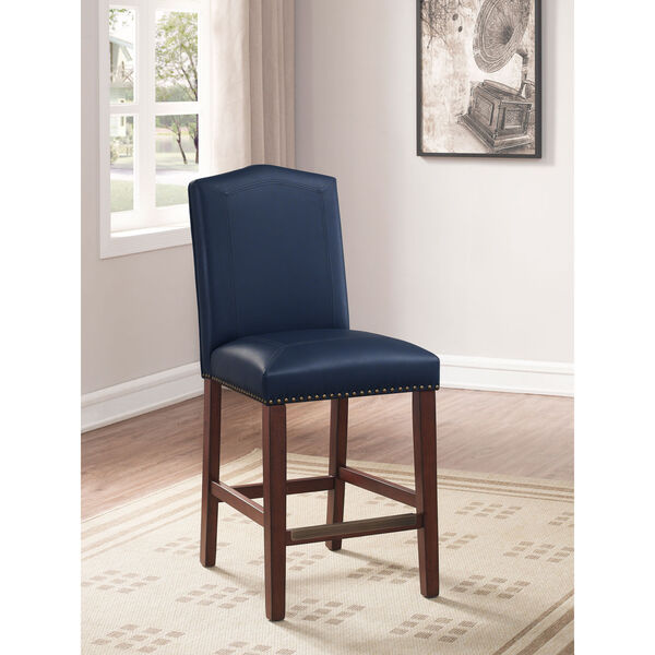 Carteret Navy Faux Leather Counter Stool, image 1