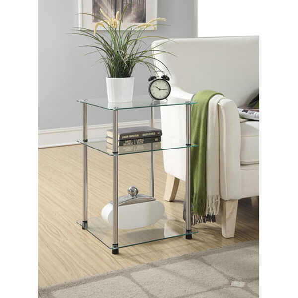 Designs2Go Glass 3 Tier End Table, image 1