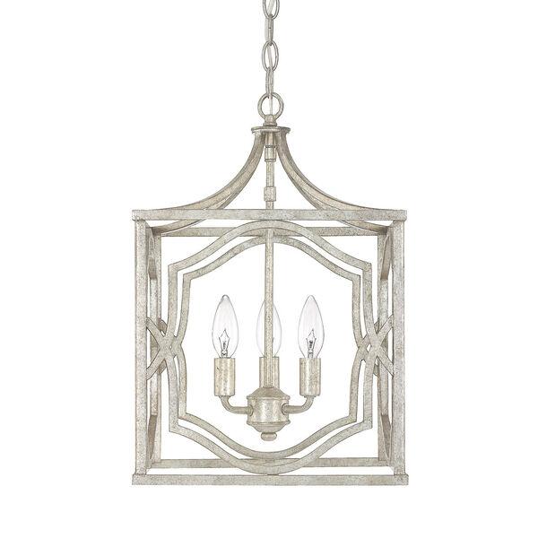 Linden Antique Silver Three-Light Lantern Pendant, image 1