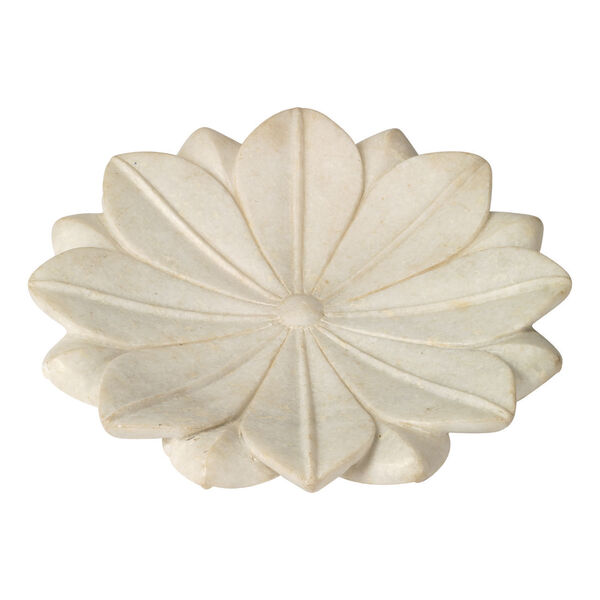 White Marble 15-Inch Decorative Floral Plate, image 1