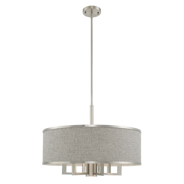 Park Ridge Brushed Nickel 24-Inch Seven-Light Pendant Chandelier with Hand Crafted Gray Hardback Shade, image 3