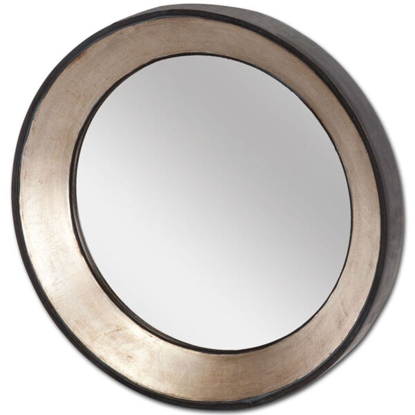 Ovallas Champagne Round Wood Frame Wall Mirror, image 1