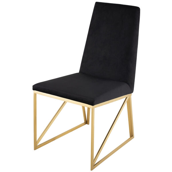 Caprice Black Velour and Brushed Gold Dining Chair, image 5