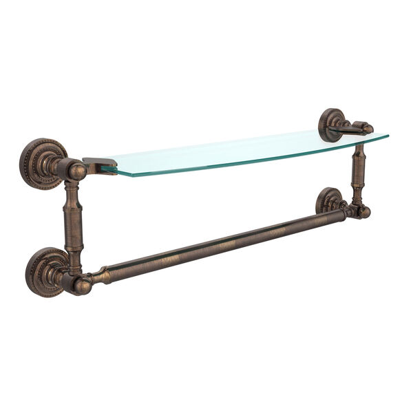 Dottingham Venetian Bronze 18 Inchx5 Inch Glass Shelf w/Towel Bar, image 1