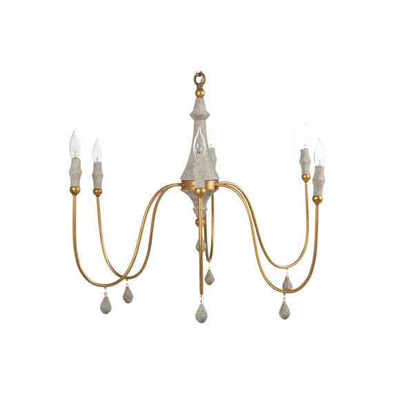 Vintage Silver And Distressed Gray Eight-Light Chandelier, image 4
