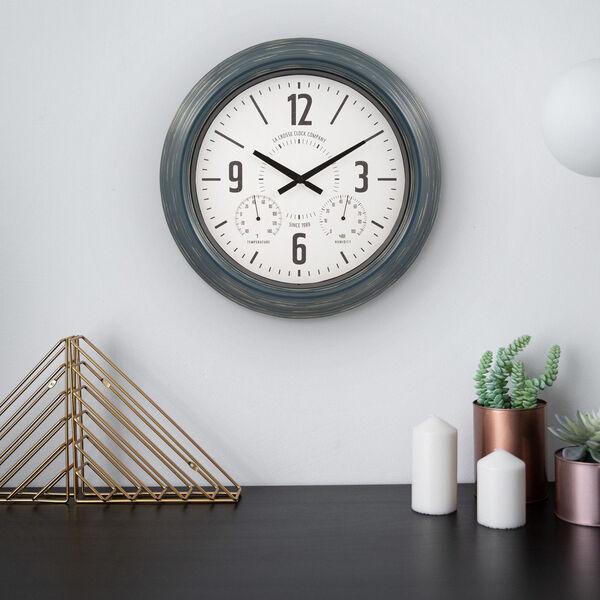 Blue Metal Outdoor Wall Clock, image 3
