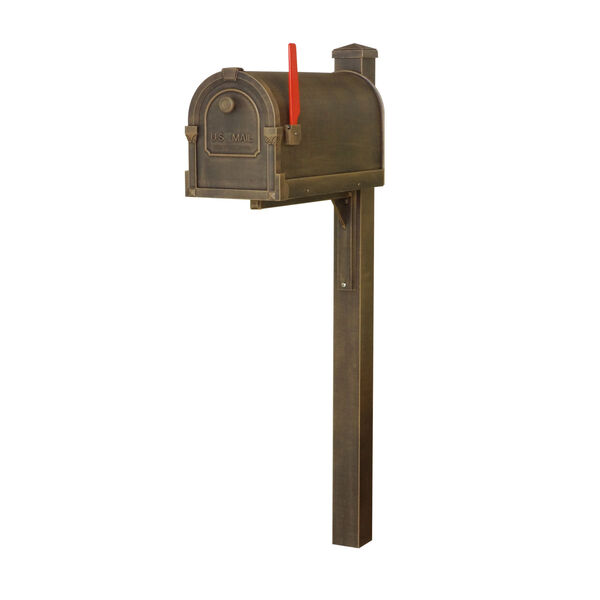 Savannah Curbside Copper Mailbox and Wellington Direct Burial Mailbox Post Smooth, image 2
