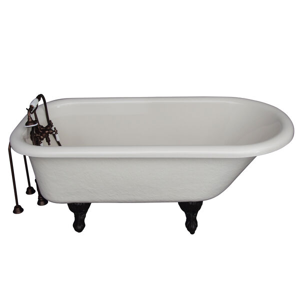 Oil Rubbed Bronze Tub Kit 60-Inch Acrylic Roll Top, Tub Filler, Supplies, and Drain, image 1