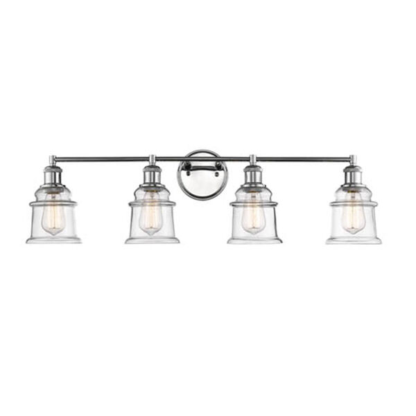 Chrome Four-Light Vanity with Clear Glass, image 1