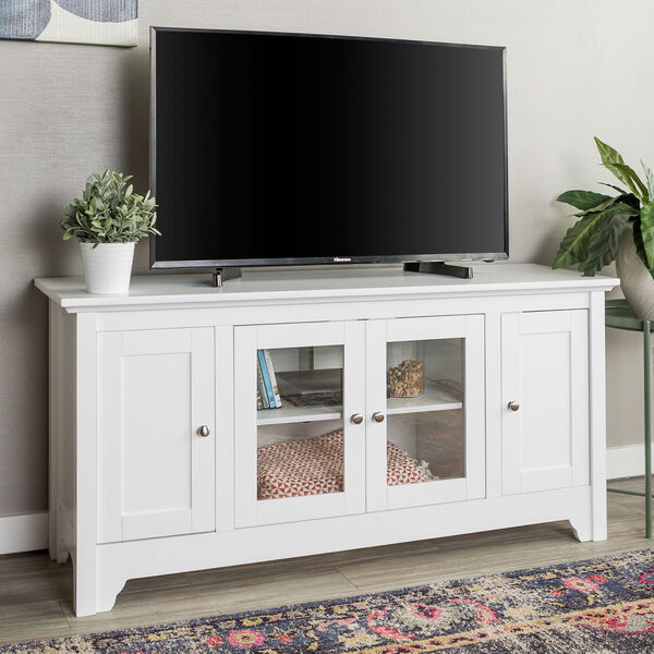 52-Inch Wood TV Media Stand Storage Console - White, image 1