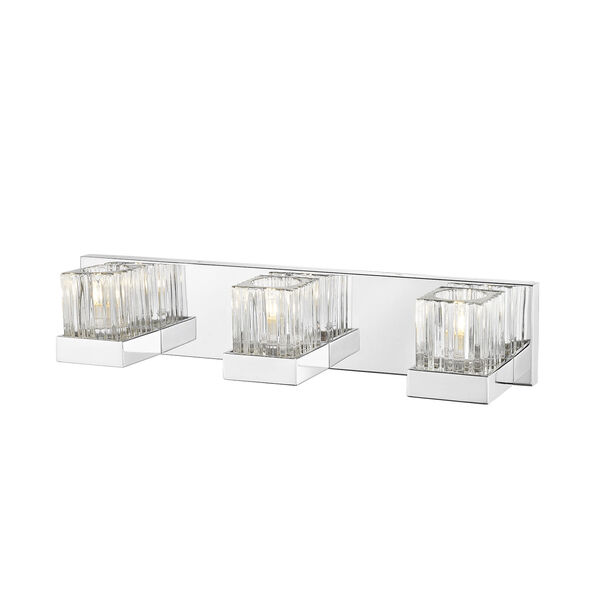 Fallon Chrome Three-Light Vanity With Transparent Ribbed + Frosted Crystal, image 3