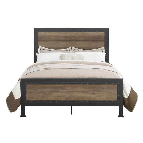 Queen Size Industrial Wood and Metal Bed - Rustic Oak, image 2