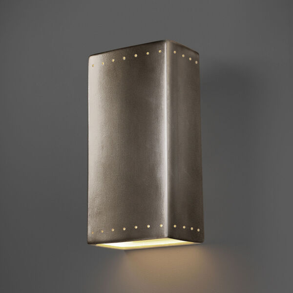 Ambiance Antique Silver 11-Inch Rectangle Closed Top GU24 LED Rectangle Outdoor Wall Sconce, image 2