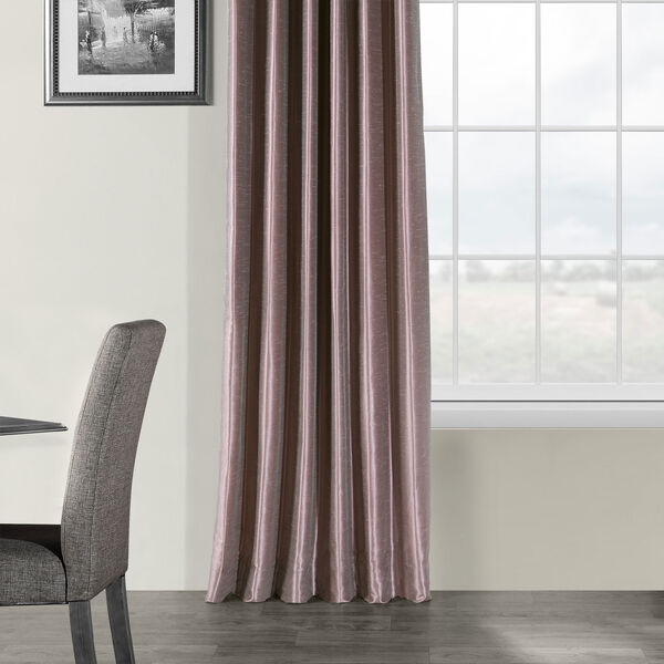 Smoky Plum Vintage Textured Faux Dupioni Silk Single Panel Curtain, 50 X 108, image 5