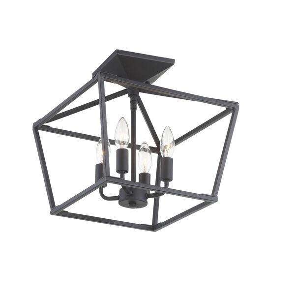 Townsend Matte Black Four-Light Semi-Flush, image 3