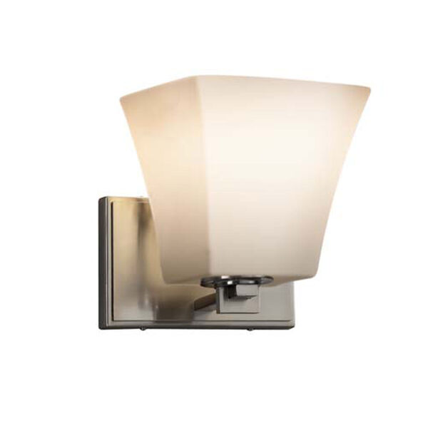 Fusion - Era Brushed Nickel LED LED Wall Sconce with Square Flared Opal Shade, image 1