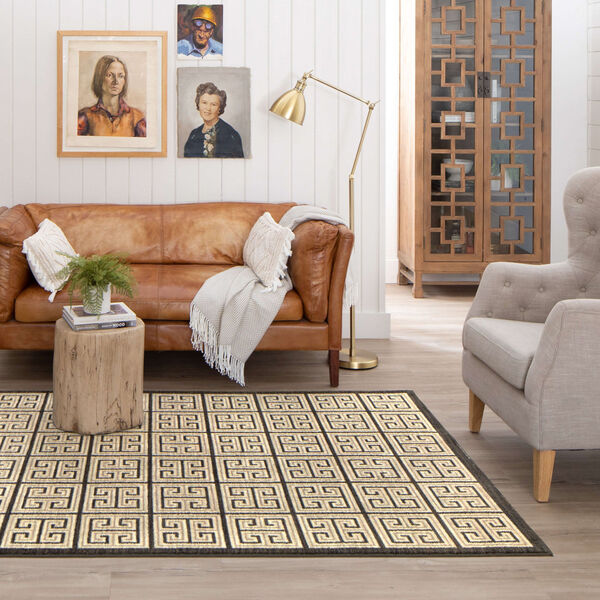 Meander Gray Charcoal Geometric Rectangular: 3 Ft. x 5 Ft. Area Rug, image 3